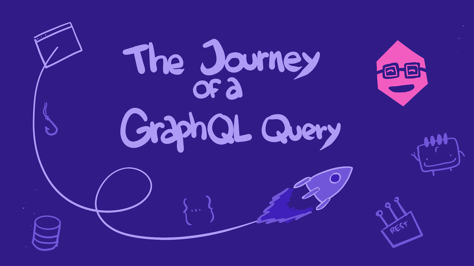 Centered text 'The Journey of a GraphQL Query' with accompanying doodles of GraphQL components around
