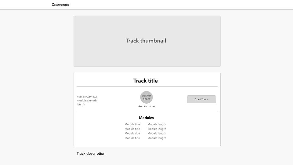 Track page mock-up design