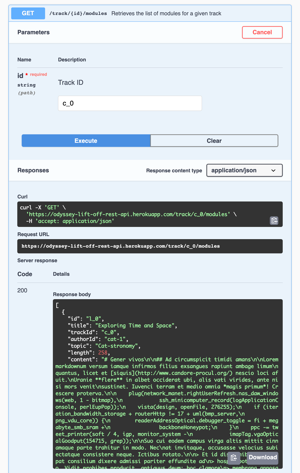 Screenshot of REST API docs with the GET track/:id/modules endpoint