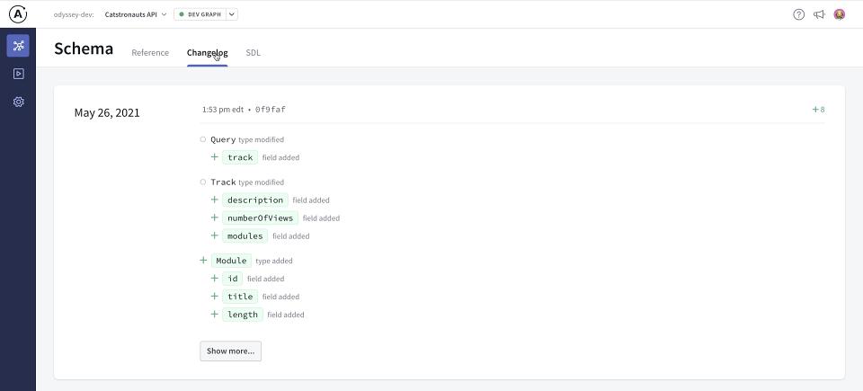 Screenshot of Apollo Studio Explorer in the Schema Changelog tab