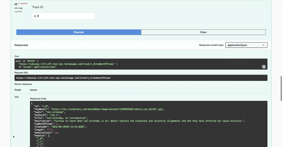 Screenshot of REST API PATCH endpoint with 200 successful response