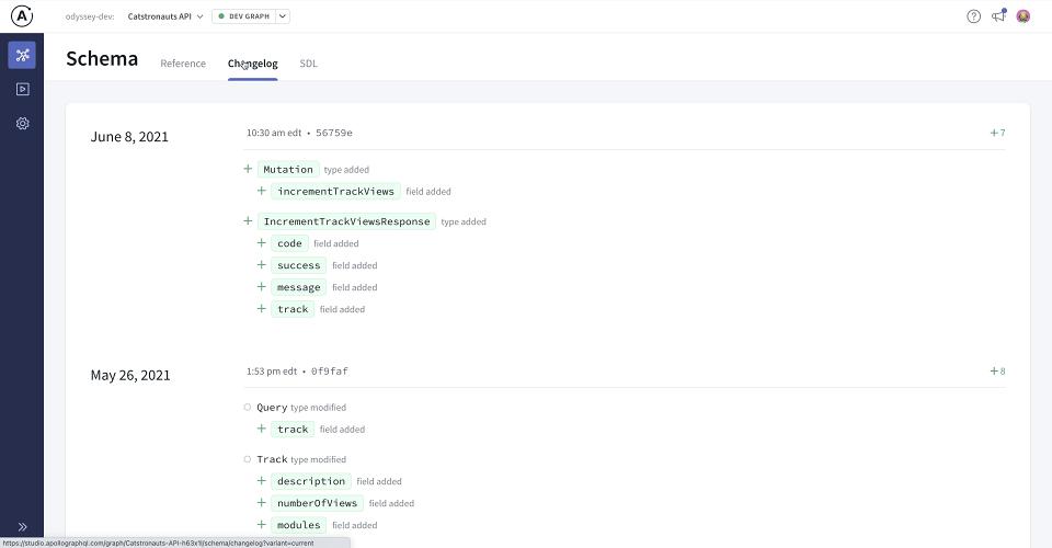 Screenshot of Apollo Studio Changelog