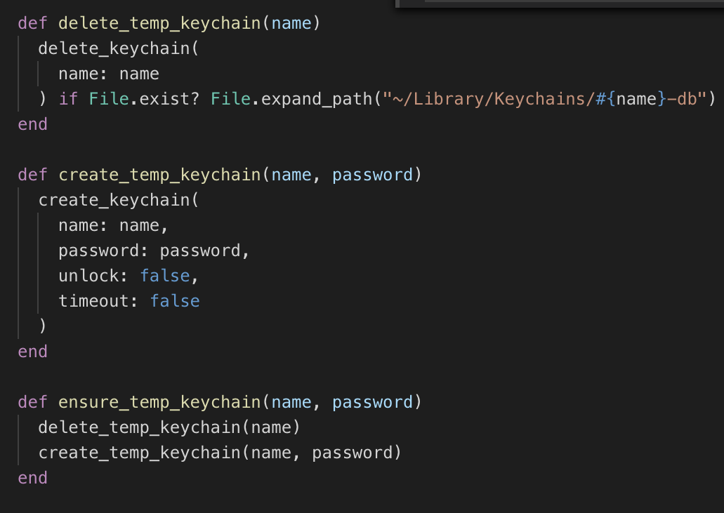 Functions for creating & deleting temporary keychains