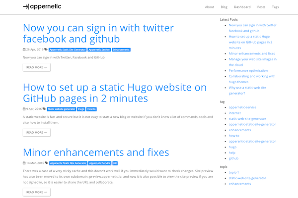 blog.appernetic.io using theme hugo-bootstrap-premium with popover opt-in form.