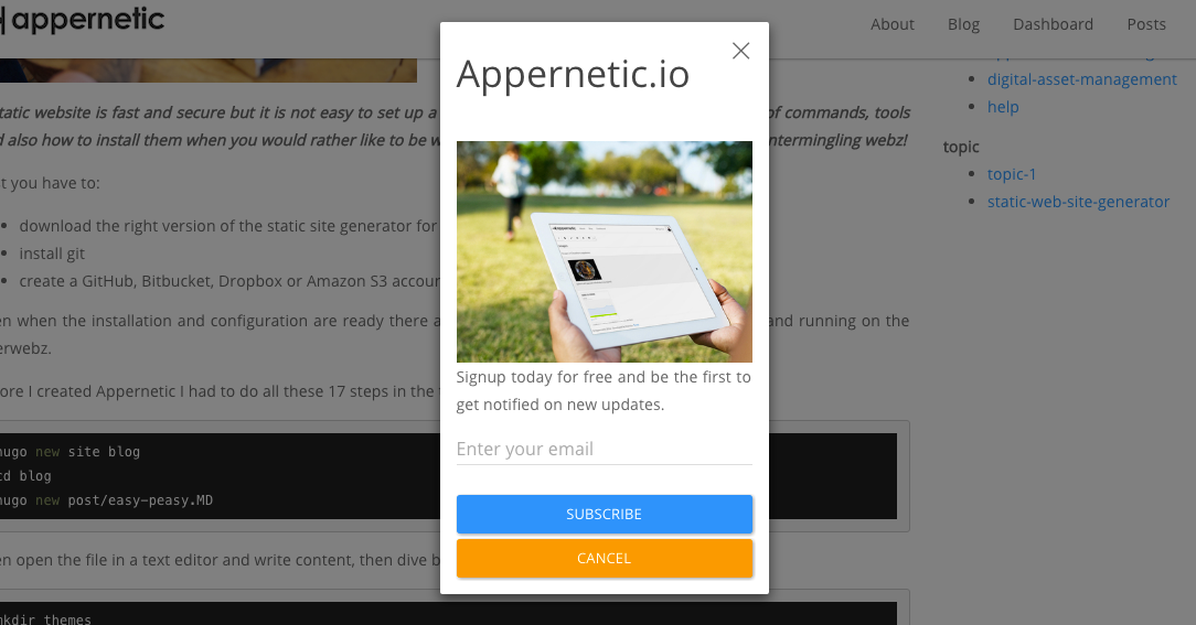 Popover newsletter opt-in form with Zapier hook at blog.appernetic.io
