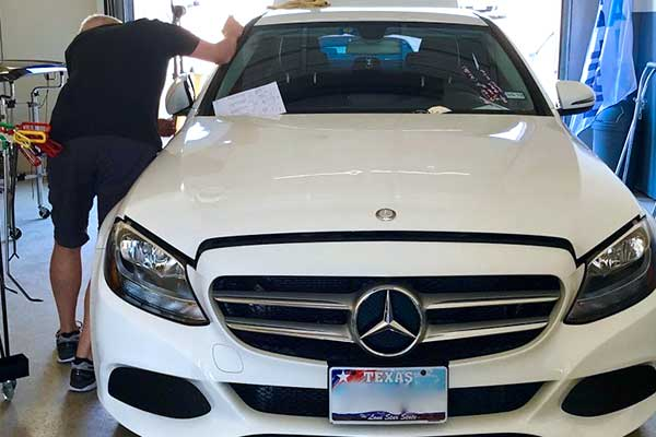 White Mercedes Hail Damage