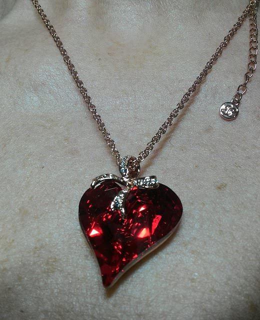 Collana con cuore rosso Lady Colour con fiocco