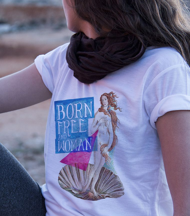 Camiseta Born free and woman