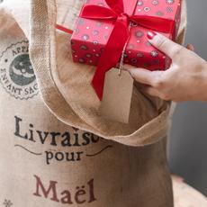 Le sac en toile de jute à personnaliser : la Hotte de Noël
