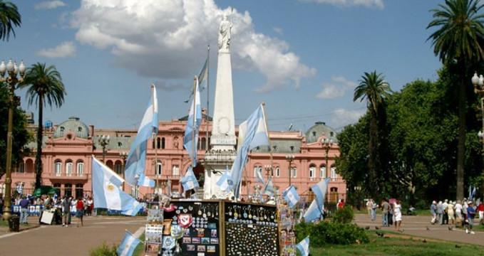 Náměstí 25. května (Plaza de Mayo) v Buenos Aires -