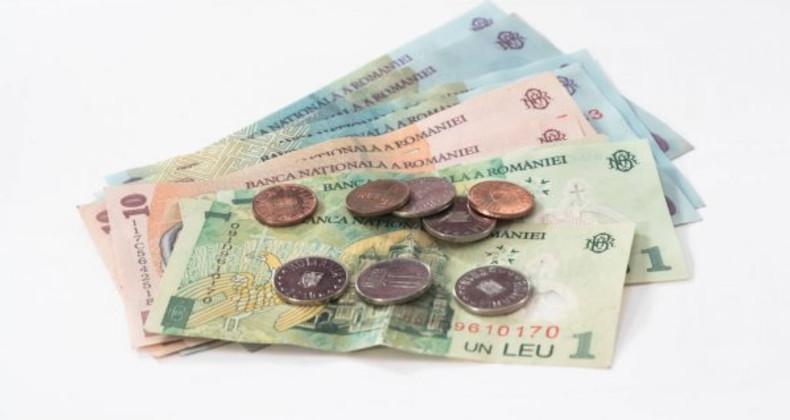 Několik bankovek a mincí rumunský lei