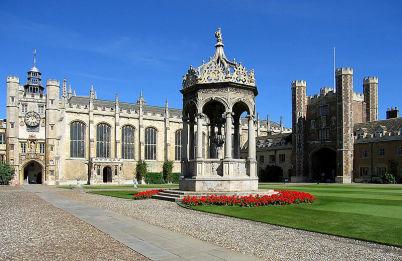 Trinity College - https://commons.wikimedia.org/wiki/File:TrinityCollegeCamGreatCourt.jpg