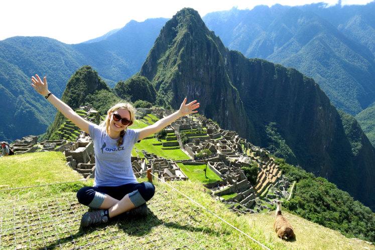 S Ara.cz tričkem na Machu Picchu