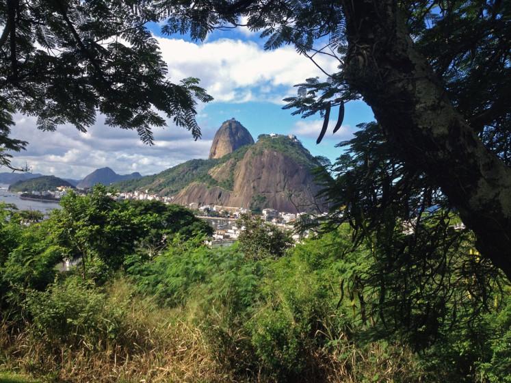 Výhled na cukrovou homoly (Pão de açúcar) zvrchu Morro do Pasmado
