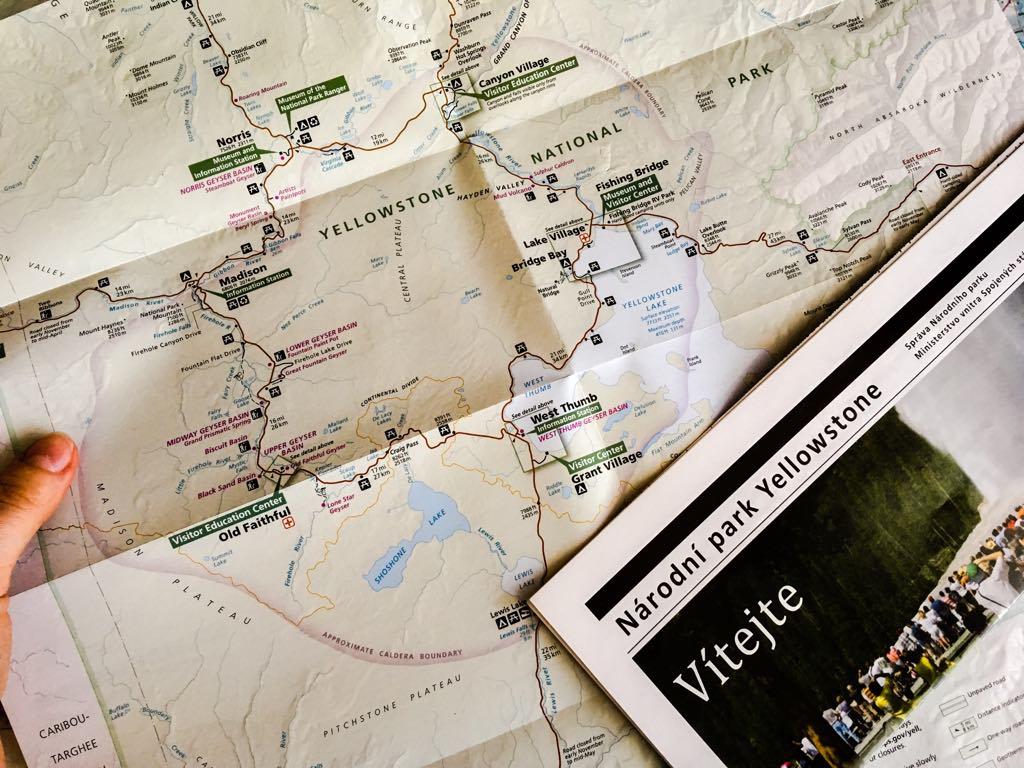 Mapa Yellowstonského Národního Parku