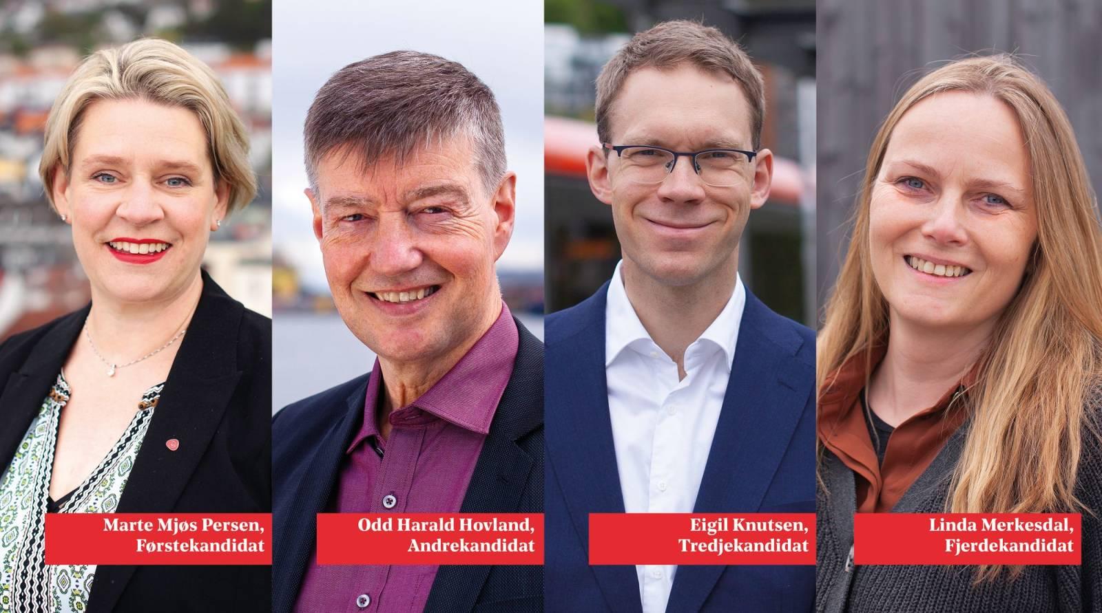 Bilde av de 4 øverste stortingskandidatene i Hordaland