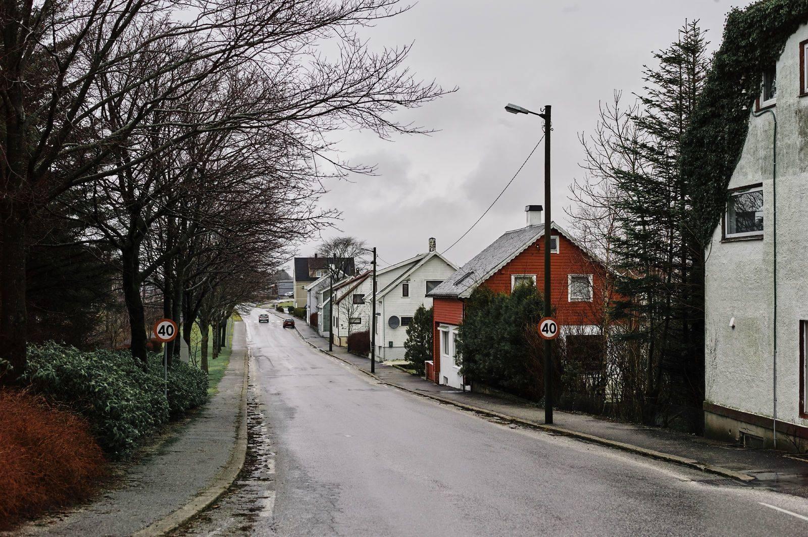 Koselige trehus langs en lokal bilvei. Foto: Øivind Haug