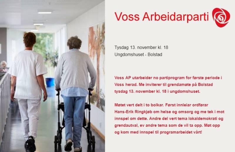 Voss AP utarbeider no partiprogram for første periode i Voss herad. Me inviterer til grendamøte på Bolstad tysdag 13. november klokka 1800 i Ungdomshuset.