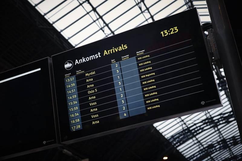 En ankomsttavle på togperrongen. Foto: Øivind Haug