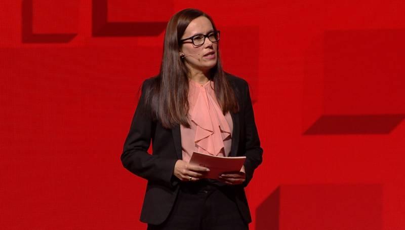Ordfører i Hammerfest, Marianne Sivertsen Næss, taler under Arbeiderpartiets landsmøte i 2019.