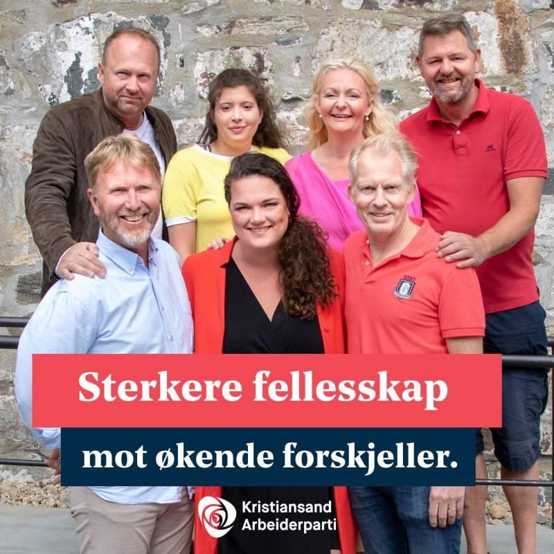 Kristiandsand Aps syv smilende toppkandidater. Tekstet med: Sterkere fellesskap mot økende forskjeller. Kristiansand Arbeiderparti.