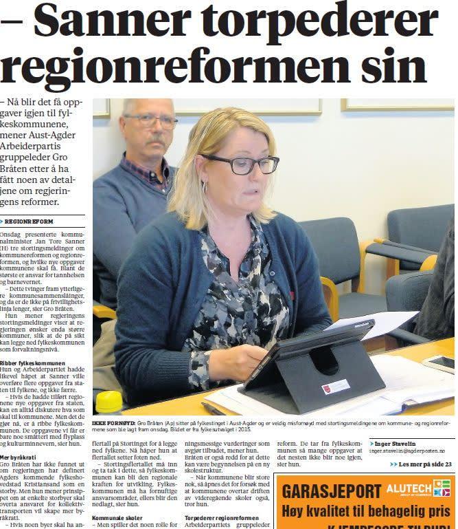 Gro Bråten mener Sanner torpederer regionreformen