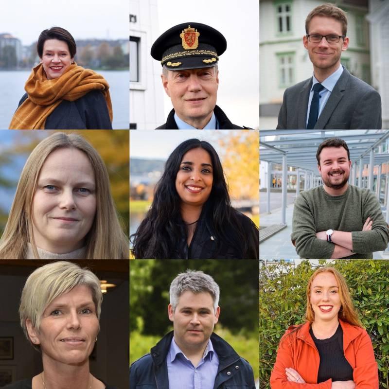 Bilde av alle de 10 første kandidatene til Stortinget fra Hordaland