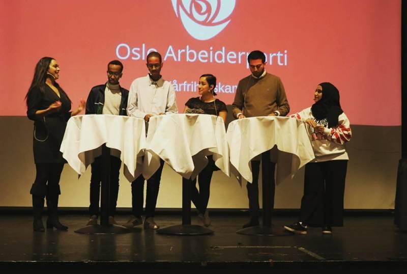 Fra venstre: Khamshajiny Gunaratnam,  Fawzi Warsame, Abdirahman Hassan, Sofia Rana, Umar Ashraf, Faten Al-Hussaini