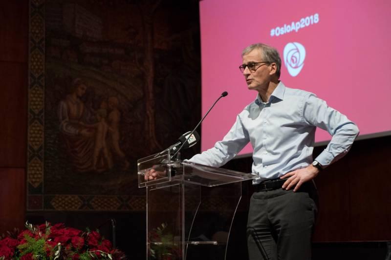 Partileder Jonas Gahr Støre taler til årsmøtet i Oslo Ap 16. mars 2018