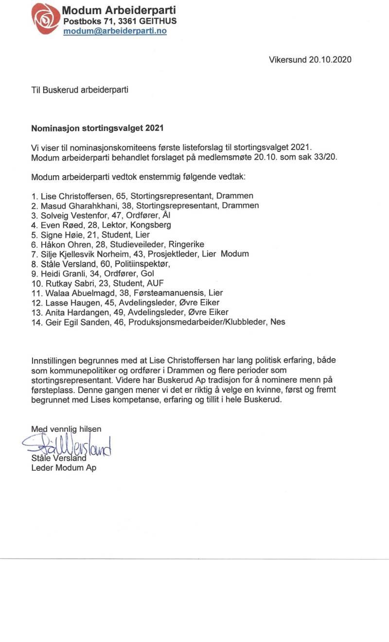 Brev til nominasjonskomiteens første listeforslag av 20.10.2020