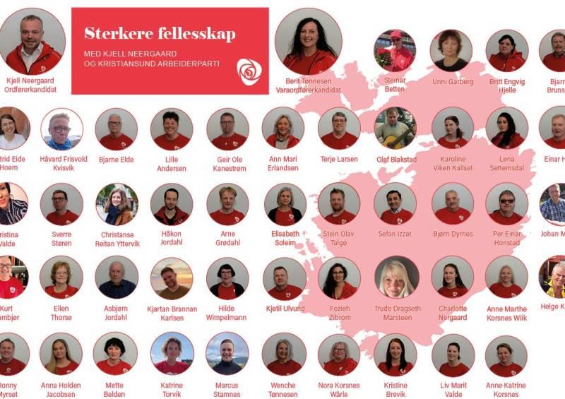 Listekandidater Kristiansund Arbeiderparti