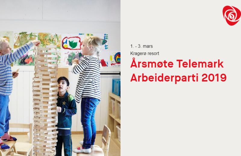 Barn som leker og tekst om årsmøtet 2019