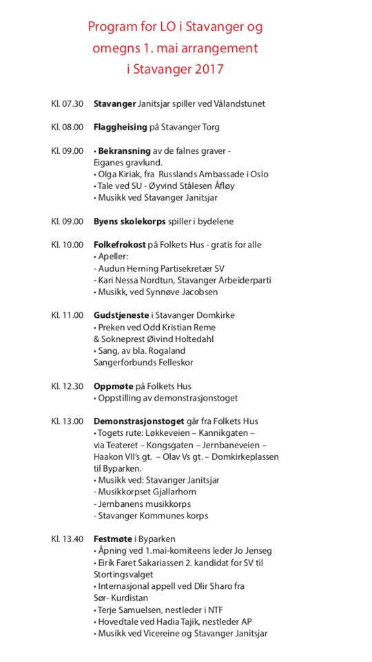 LO i Stavanger 1.mai program 2017