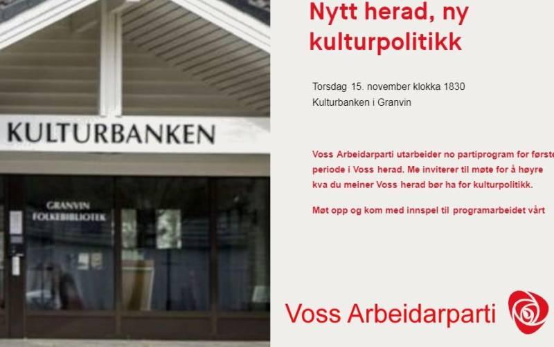 Nytt herad, ny kulturpolitikk - Kulturbanken i Granvin torsdag 15. november klokka 1830