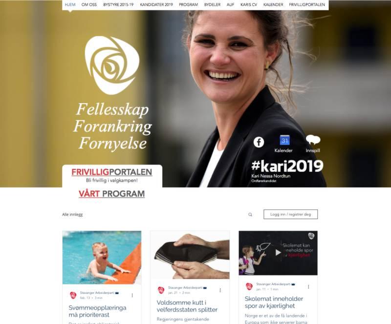 Bilde av ny nettside til Stavanger AP. På forsiden står politisk budskap og ved siden av budskapet poserer vår ordførerkandidat Kari Nessa Nordtun