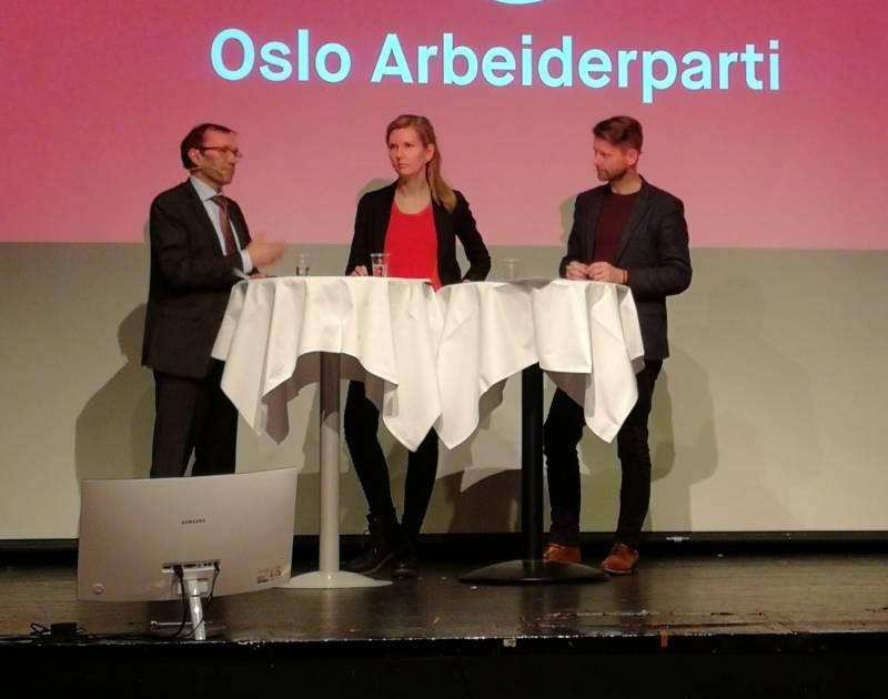 Espen Barth Eide, Marianne Marthinsen og Kjetil Staalesen i samtale