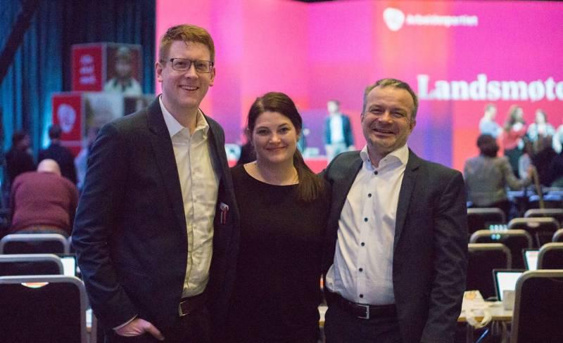 Martin Henriksen, Cecilie Myrseth, Willy Ørnebakk på Arbeiderpartiets landsmøte