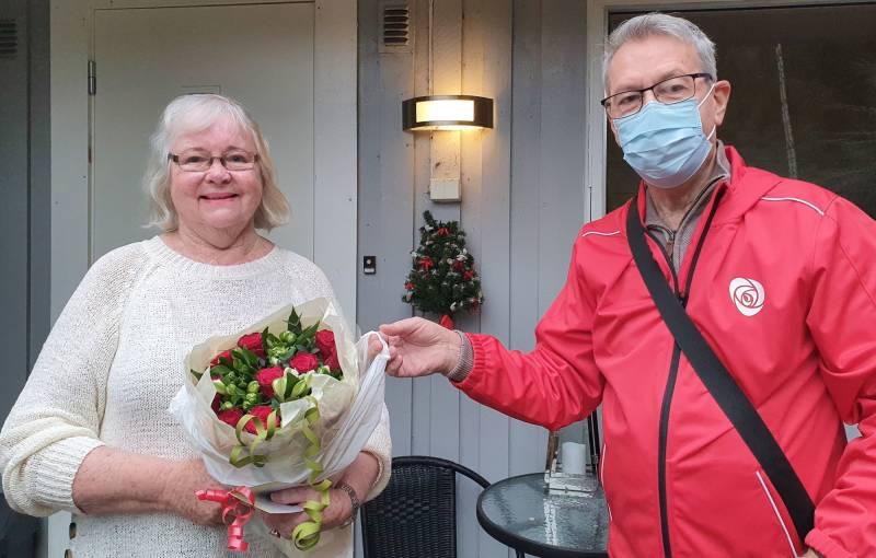 Blomster til Mette på 80-årsdagen