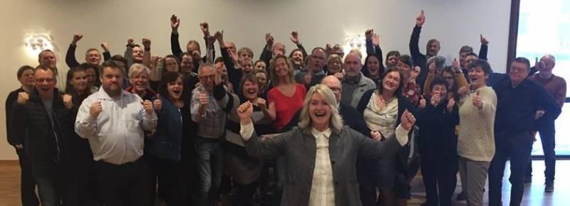 Arbeiderpartiets fylkestingskandidater, ordførere og valgkampledere samlet.
