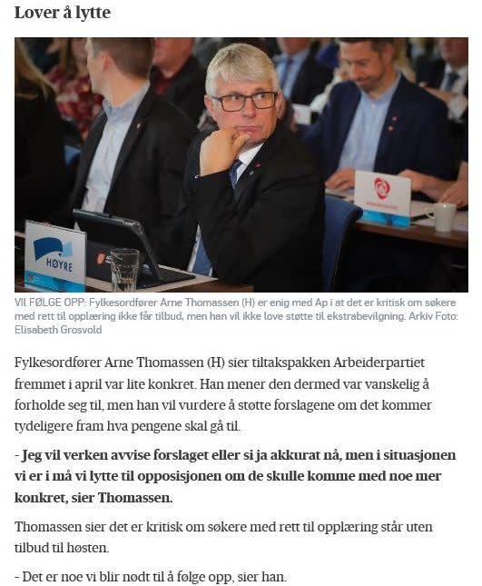 Faksimile fra Agderposten hvor Thomassen sier han lover å lytte