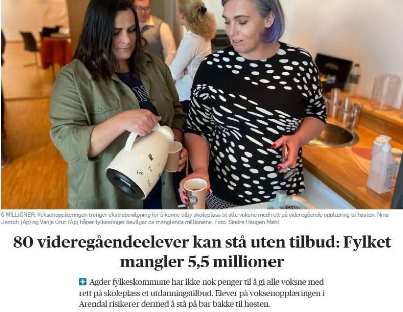 Faksimile fra Agderposten med Nina og Vanja med tittel: 80 videregåendeelever kan stå uten tilbud: Fylket mangler 5,5 millioner