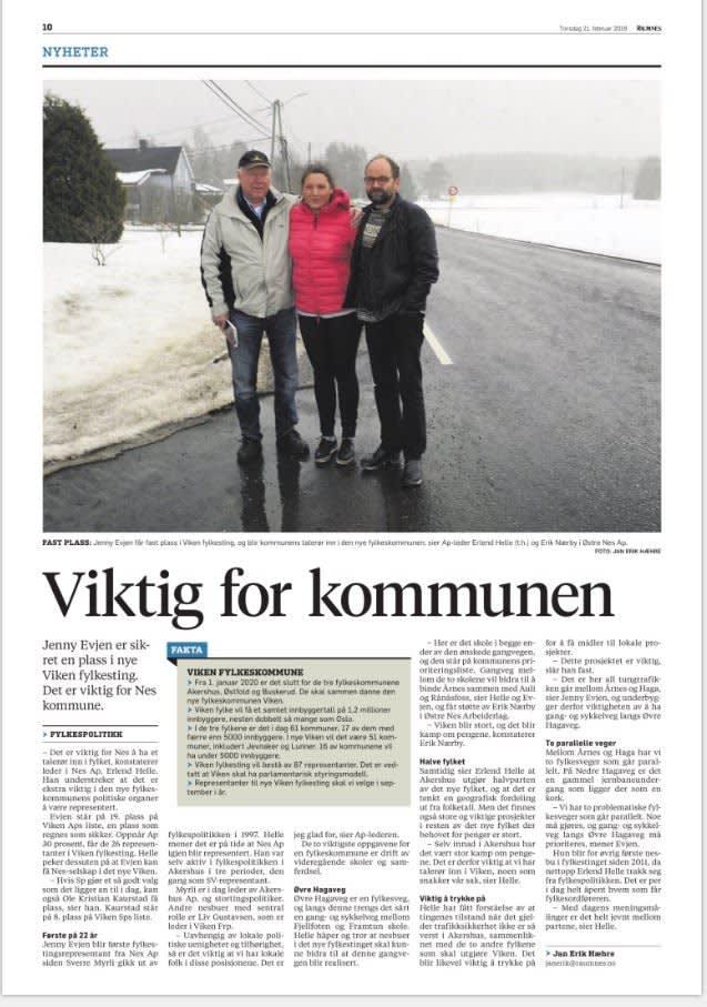 Oppslag om at det er viktig for Nes kommune at Jenny kommer inn på fylkestinget i nye Viken fylke.