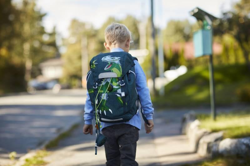 En ung skolegutt går alene på skoleveien. Foto: Øivind Haug