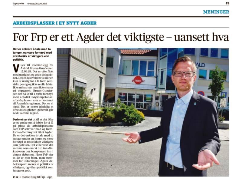 Robert Nordli i faksimile fra Agderposten