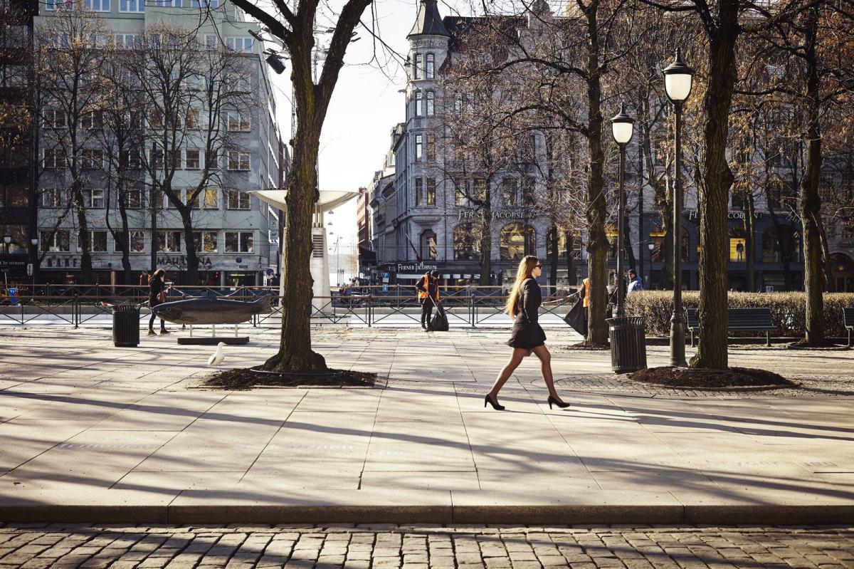 En kvinne går forbi gamle trær på spikersuppa i Oslo. Foto: Øivind Haug