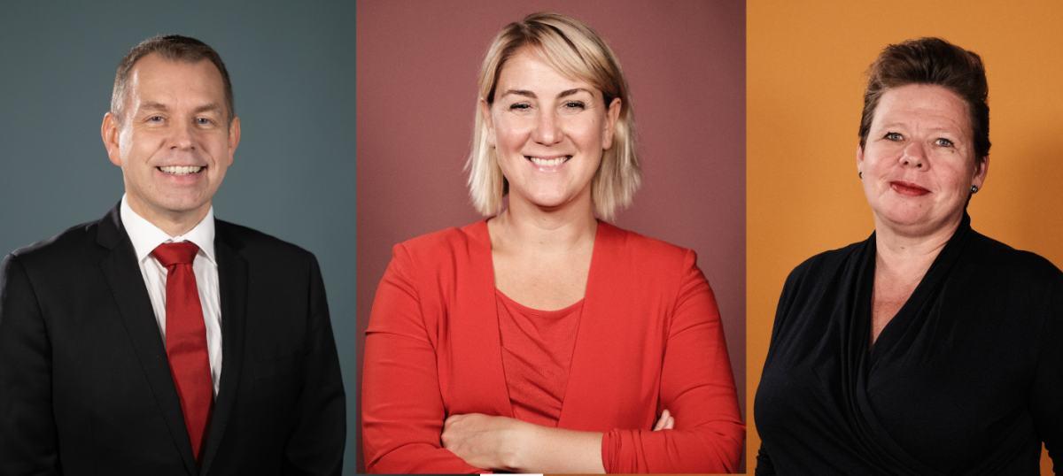 Bilde av Arbeiderpartiets fylkesråder i Viken. Fra venstre: Halvard Ingebrigtsen i dress og rødt slips, Tonje Brenna i rød genser og jakke og Siv Henriette Jacobsen i svart bluse.