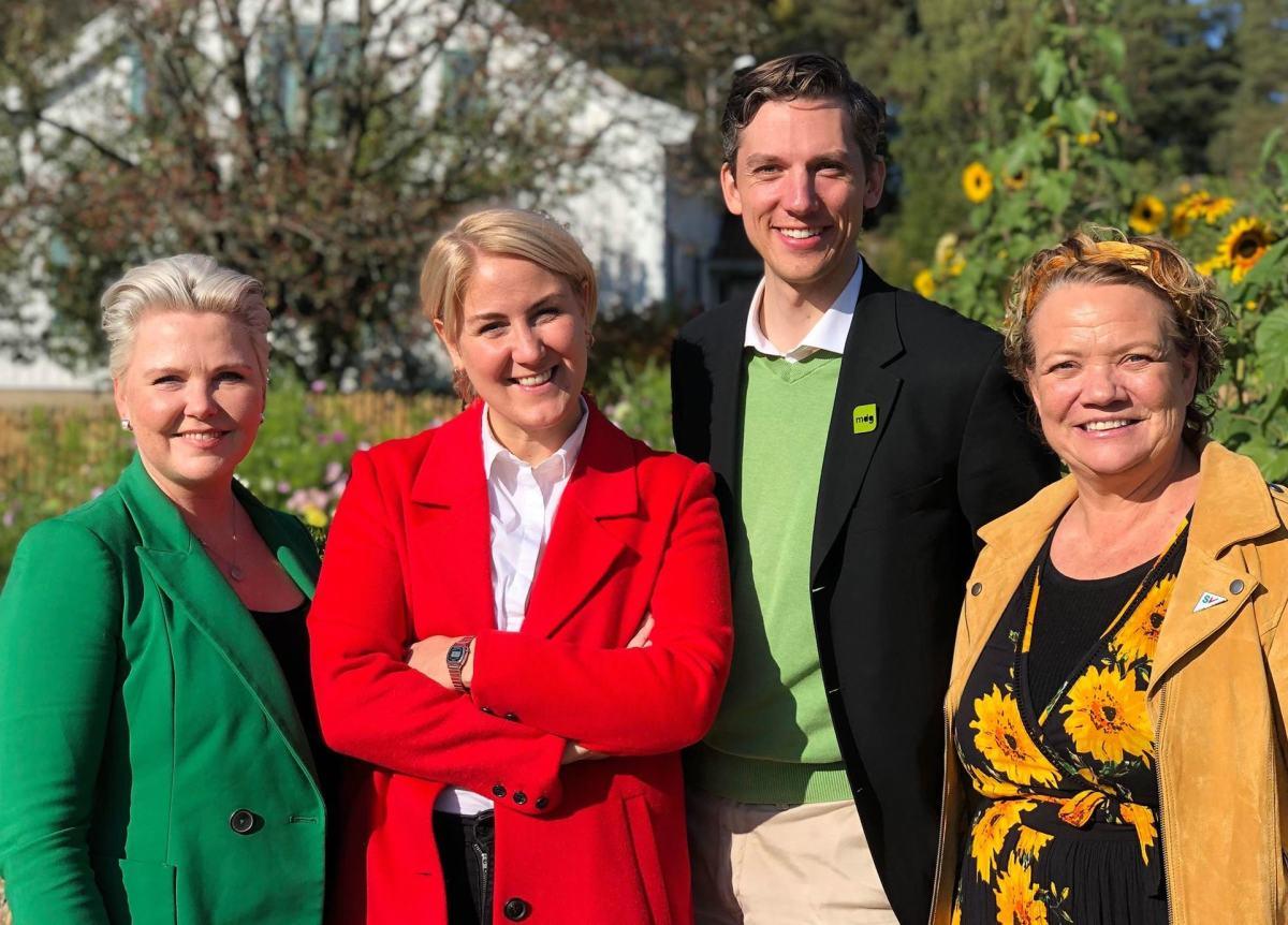 Fra venstre Anne Beathe Tvinnereim (Sp), Tonje Brenna (Ap), Kristoffer Robin Haug (MDG), Camilla Sørensen Eidsvold (SV)
