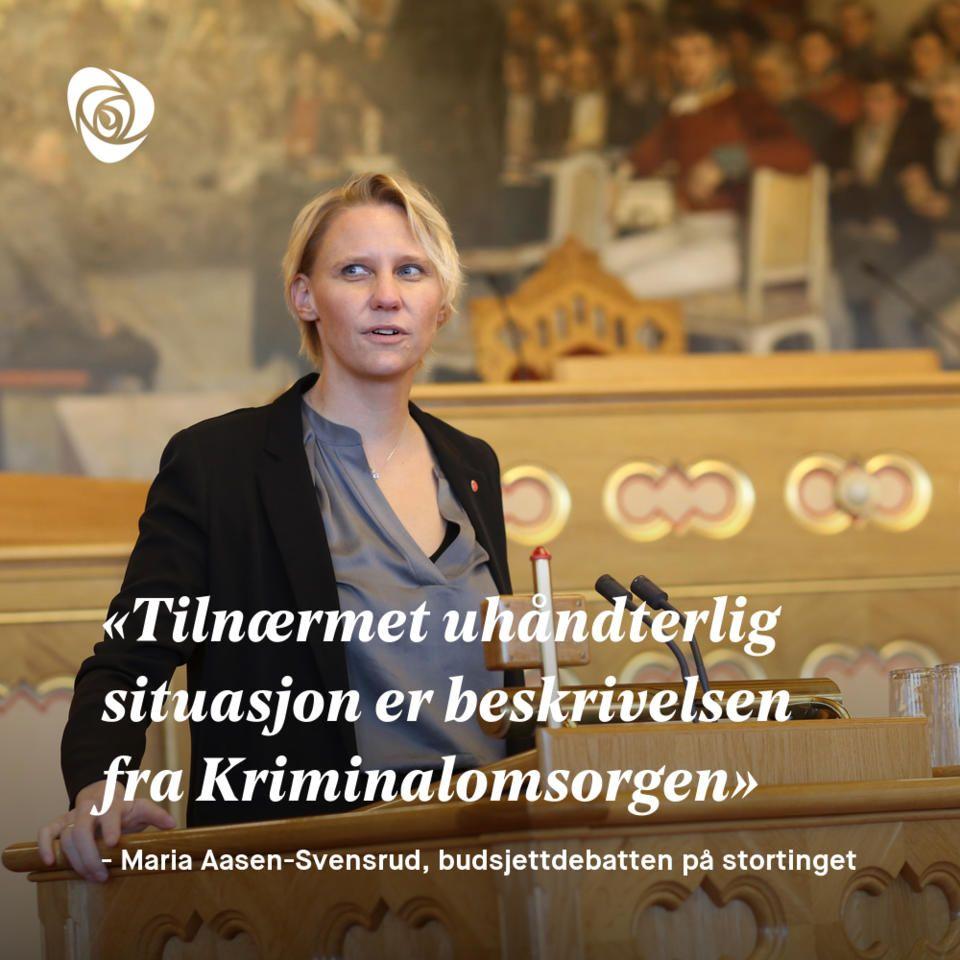 Maria Aasen-Svensrud på stortingets talerstol