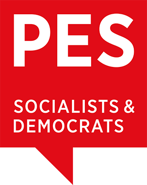 PES logo - A red square speach bubble with the text:PES Socialists & democrats.