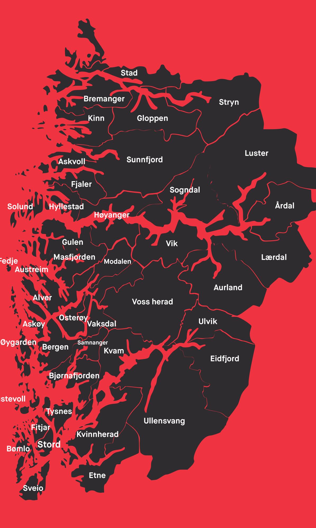 kart over vestland